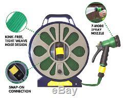 15M Garden Flat Hose Pipe Reel Set Water Spray Gun Nozzle Retractable 50FT