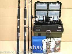 2 Shakespeare Beta Rod Reel Sea Fishing Boat Kit Seat Tackle Box Tackle Rigs