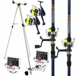 2 x 12ft Sea Fishing Rod And Reel Set Beachcaster Fishing Set Up 2 Tackle Boxes