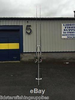 2 x 14FT Beach caster Sea Fishing Rods + 2 SILK 70 Reels + 3-6ft Tripod Set