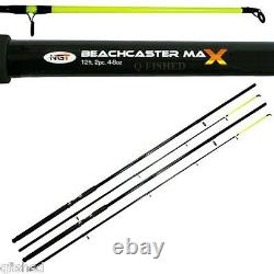 2 x Beachcaster Max 12ft Beachcaster Sea Fishing Rods & Reels + Weights Rigs