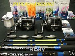 2 x Fladen Boat Fishing Rods + Reels + Tackle -Rigs weights & line included