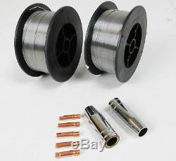 2 x Gasless (Flux Cored) MIG Welding Wire 0.8mm 0.45Kg (M6 Tips And Shrouds)