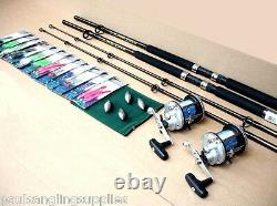 2 x SEA Boat Fishing Rods J500 Reels all Tackle Needed to Fish Kit
