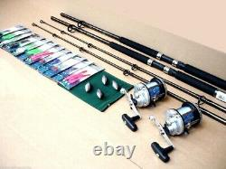 2 x Shakespeare Boat Fishing Rods Lineaeffe JD Reels all Tackle to Fish Kit