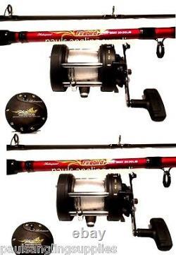 2 x Shakespeare Firebird Boat Fishing Sea Rods Multiplier Boat Reels 20-30lb LH