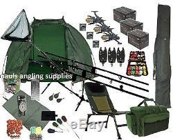 3 Carp Rod Fishing Set Up Kit Rods Reels Chair Rod Bag Tackle Mat Shelter P16