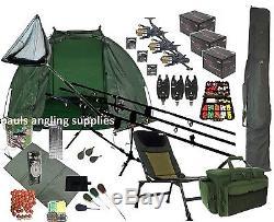 3 Rod Mega Carp Fishing Set Up Kit Rods Reels Chair Rod Bag Tackle Mat P16