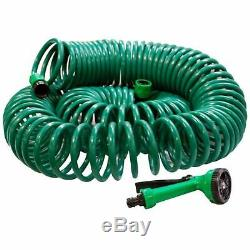 30m No Kink Reinforced Tough Garden Hose Reel Pipe Water Hosepipe 5 Function