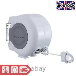 30m Retractable Outdoor Reel Washing Line Double Wall Mounted Washing Line NEW