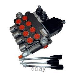 4 Bank Hydraulic Monoblock Lever Spool Valve, D/Act, 1/2 / 3/8 BSP Ported, 45lpm