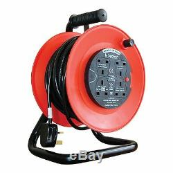 50m 4 Way Heavy Duty Cable 50 Meter Extension Reel Lead Mains Socket 13 Amp