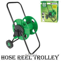 60m Portable Garden Hose Reel Trolley Water Pipe Free Standing Wall Mountable
