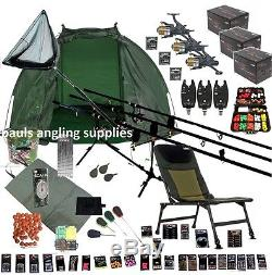 ASL 3 Rod Carp Fishing Set Up Kit Rods Reels Chair GIANT TACKLE PACK