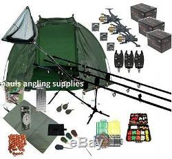 ASL 3 Rod Carp Set Up Kit Fishing Reels Alarms Bait Tackle Mat Shelter Net