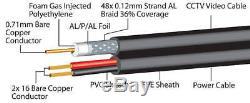 BLACK 100M RG59 +2 POWER Shotgun CCTV Video and Power Cable Reel DVR Video Coax