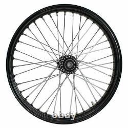 Black Front 40 Spoke Spool Hub Wheel 21 x 2.15 fits Harley (3/4 Bearings)