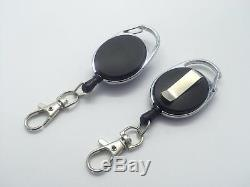 Black Retractable Key, Reel Recoil Cord Key Ring Pull Chain Belt Clip