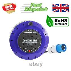 CAMPING PRO Camping Mains Hookup Extension Power Lead Cable Reel 16A plug 10m