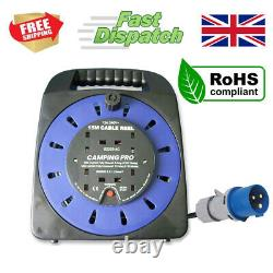 CAMPING PRO Camping Mains Hookup Extension Power Lead Cable Reel 16A plug 15m