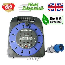 CAMPING PRO Camping Mains Hookup Extension Power Lead Cable Reel 16A plug 25m