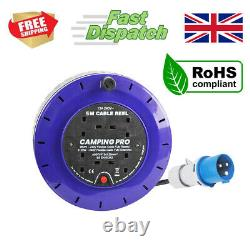 CAMPING PRO Camping Mains Hookup Extension Power Lead Cable Reel 16A plug 5m