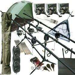 Carp Fishing MEGA Set Up Kit Rods Reels Pod Rigs Alarms Bait Tackle Tools Mat