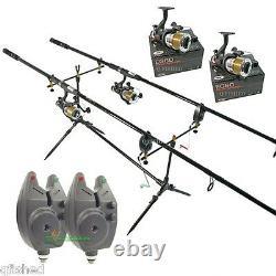 Carp Fishing Set 2 Rods 2 Reels 2 Bite Alarms Pod + 3 Indicators Fishing Chair
