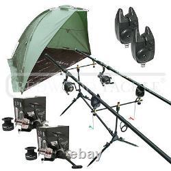 Carp Fishing Set & Bivvy/Shelter, Rods, Reels, Pod, Alarms, Carp Tackle