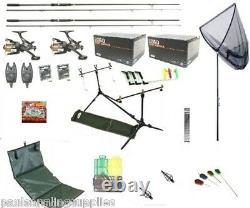 Carp Fishing Set Up Kit Rods Reels Rigs Alarms Bait Tackle Tools Mat PC 5