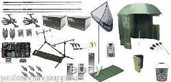 Carp Fishing Set Up Kit Rods Reels Rigs Alarms Net Tackle Tools Mat Hooks Brolly
