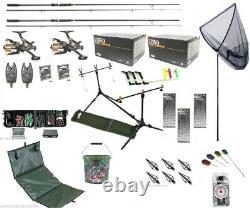 Carp Fishing Set Up Kit Rods Reels Rigs Alarms Net Tackle Tools Mat Hooks PC3