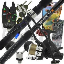 Carp Fishing Set up With 12ft 3 Peice Rod Reel Bite Alarm And Tackle & Bait