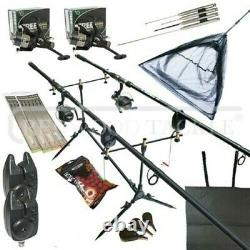 Carp Fishing Starter Set Up Kit Rods Reels Alarms Pod Bait Net Tools Mat + More