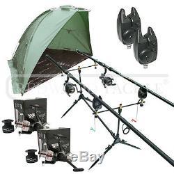 Carp/Pike Fishing Kit 2 Rods 2 BTR/Free Spool Reels Pod+2 Alarms+Shelter/Bivvy