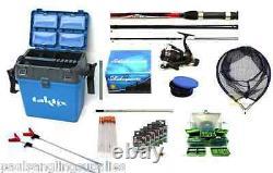 Coarse Float Fishing Kit Shakespeare Rod Reel Green Seat Box Net Hooks Tackle