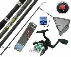 Complete Starter Beginner Fishing Kit Set & 10' Rod Reel Floats Hooks Shot & Net