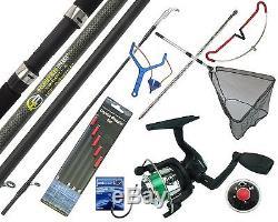 Complete Starter Fishing Tackle Set Kit With Hunter Pro Rod Reel Tackle & Net