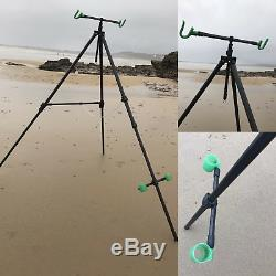 Deluxe Sea Fishing Set Up 2 X 12ft Beachcaster Rods + Reels + Beach Pro Tripod
