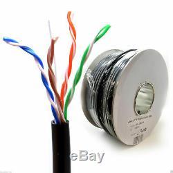 External Outdoor Cat5E FULL COPPER Network Ethernet Cable FTP/UTP Reel Lot Cat5