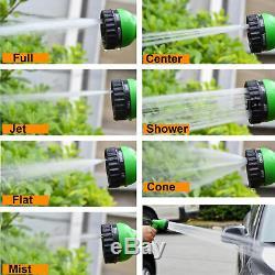Flat Garden Hose Reel & Pipe Outdoor with Spray Nozzle Gun Plants Watering 50ft