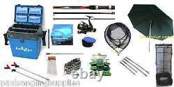 Float Fishing Kit Shakespeare Rod + Reel Seat Box Net Umbrella Hooks All Tackle