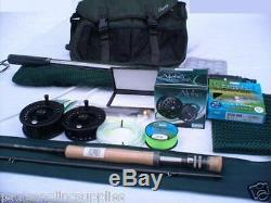 Fly Fishing Kit. Tackle Bag Net Rod Reel Line Flies