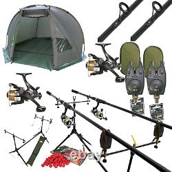 Full Carp Fishing 2 Rod Set Up With Day Bivvy Shelter Rods Reels Pod Alarms