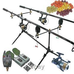 Full Carp Fishing Set Up 2 X Rods + 2 X Reels + Rod Pod + Alarms + Boilies
