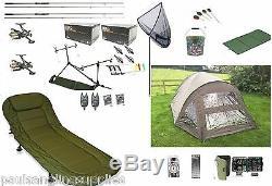 Full Carp Fishing Set Up Kit Rods Reels Alarms Tackle Mat & Bivvy Bedchair