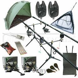 Full Carp Fishing Set Up Kit Rods Reels Alarms & Tackle Mat & Shelter
