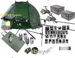 Full Carp Fishing Set Up Kit Rods Reels Rigs Alarms Bait Tackle Tools Mat Giant