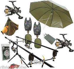 Full Carp Fishing Set Up Rods Reels Umbrella Pod Alarms Mat Boilies Scales Sling
