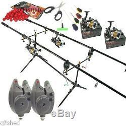 Full Carp Fishing Set up Rods Reels Hair Rigs Bite Alarms Holdall & Tackle Box